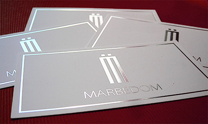 Silver Stamped Business Card Design