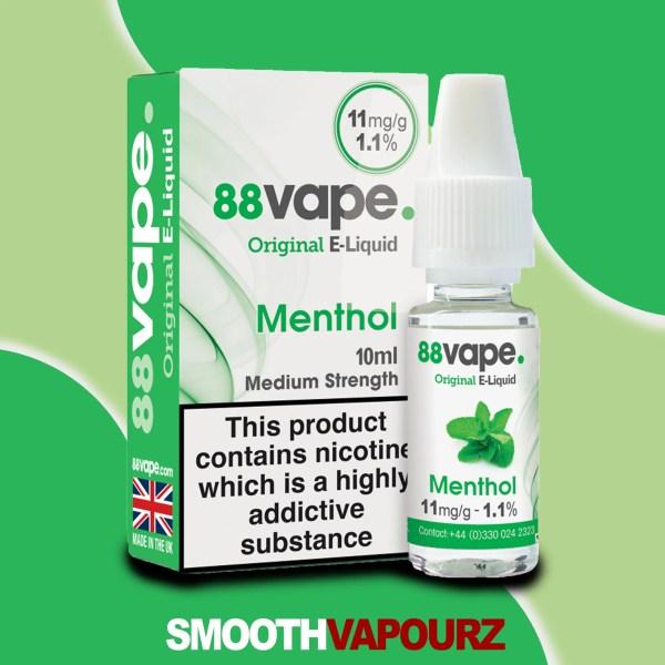 88 Vape Menthol 10ml Vape Juice - smooth vapourz