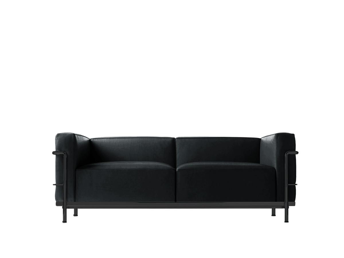 lc3 sofa quilted throws cassina two seater matt black lacqured leather scozia
