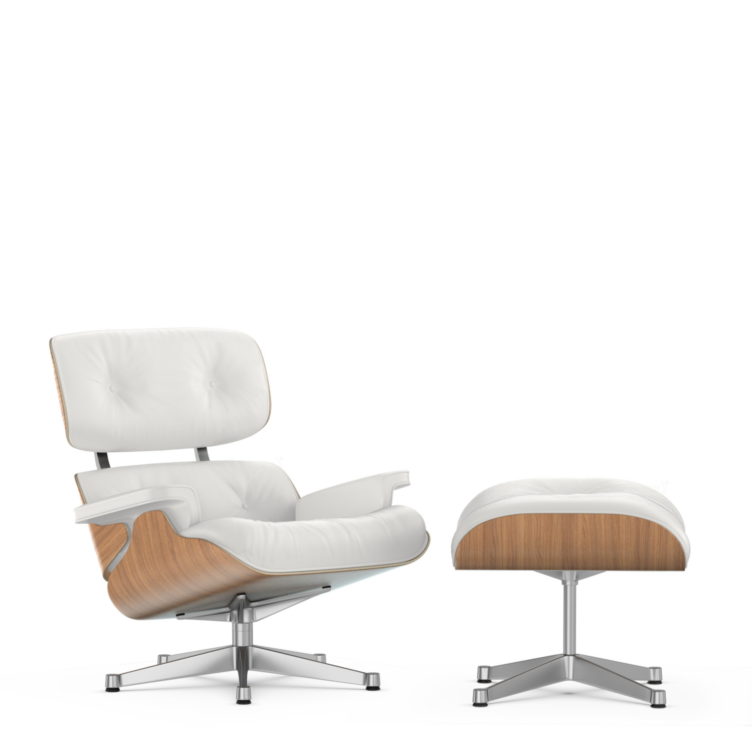 office lounge chair and ottoman wingback covers walmart vitra white version walnut with