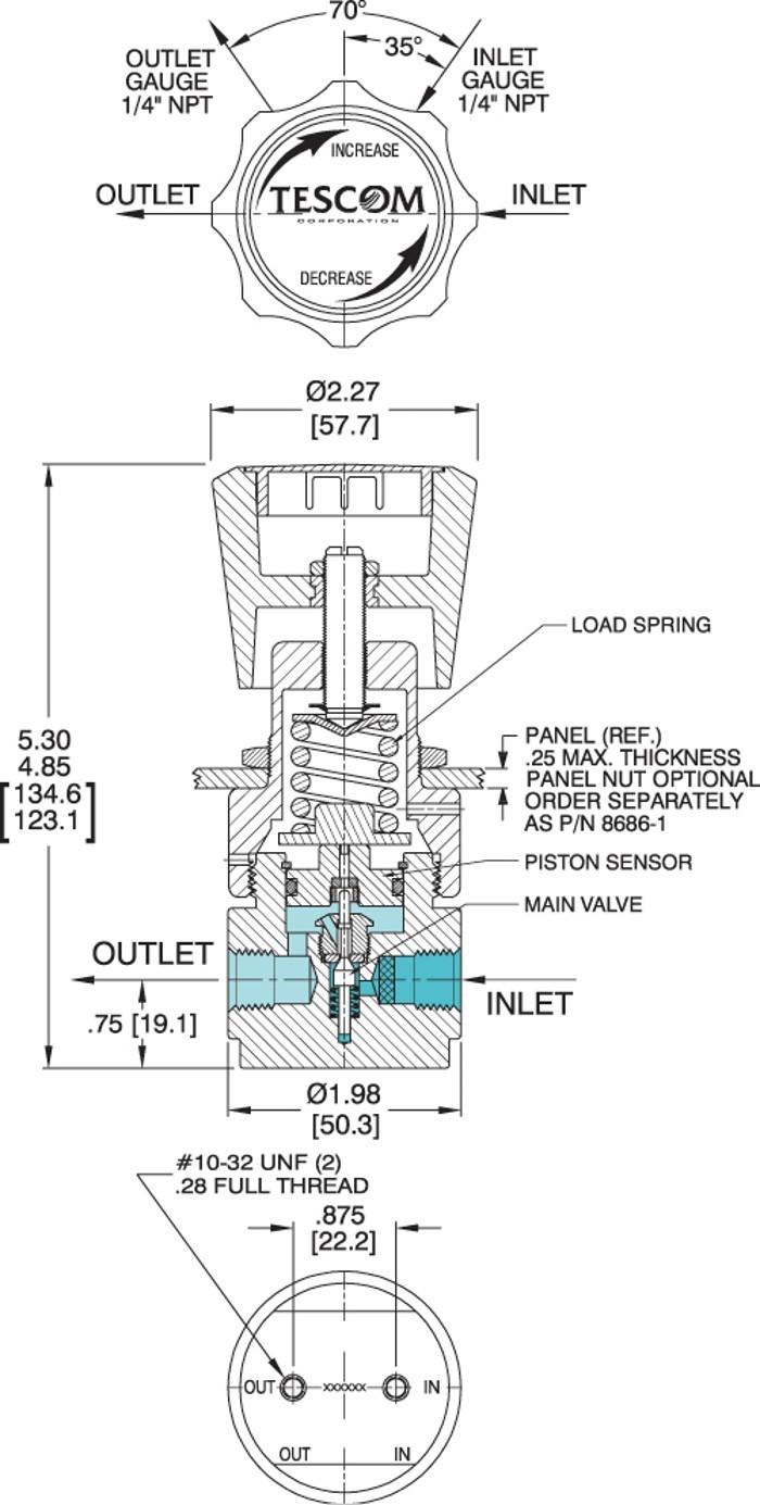 Tescom 44-5200 Series Self Venting Pressure Reducing