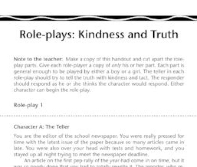 Role Plays Kindness And Truth