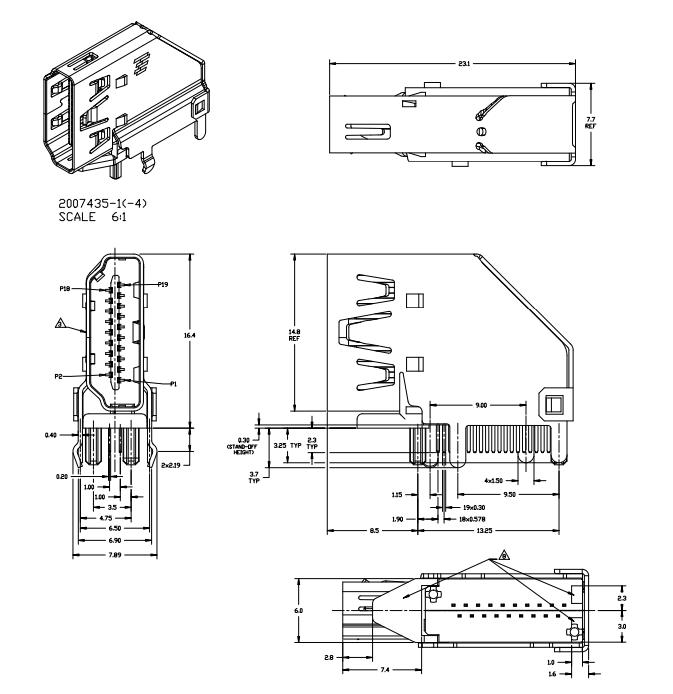 Solder Pin HDMI Magnetic RJ45 Jack Displayport / DVI
