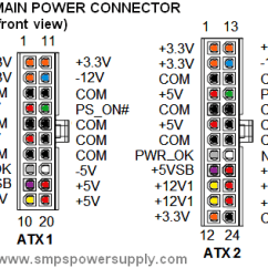 Atx 450w Smps Circuit Diagram 1 4 Ohm Dual Voice Coil Wiring Computer Power Supply And Operation Pinout