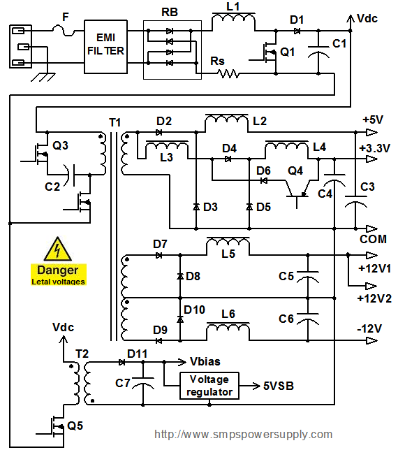 atx 450w smps circuit diagram ge profile french door refrigerator parts computer power supply and operation block