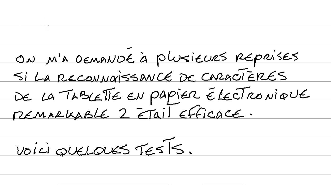test conversion caractères reconnaissance remarkable 2 en français