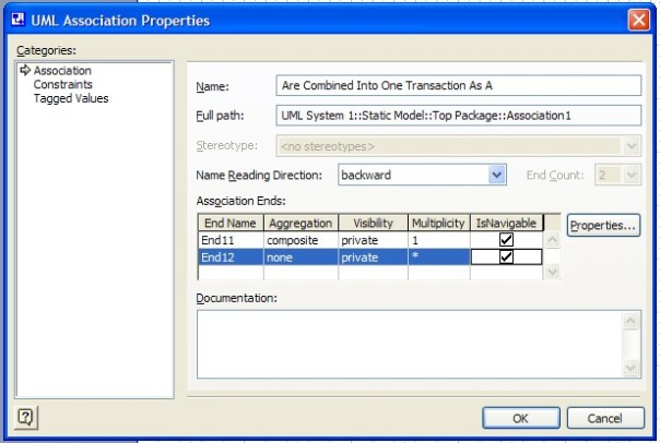 visio uml class diagram composition properties dialog