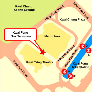 Kwai Fong to Park Island Bus Stop Map