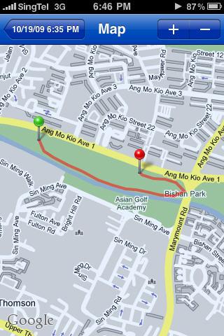 Map of my run in Runkeeper