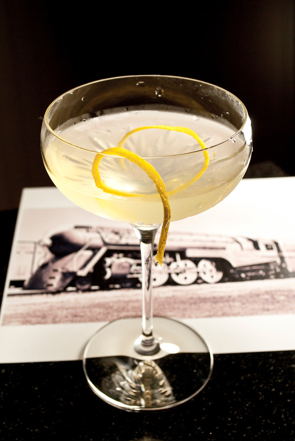 Twentieth Century Cocktail, with a photo of the Dreyfuss Hudson Locomotive. Cocktail photo © 2010 Douglas M. Ford. All rights reserved.