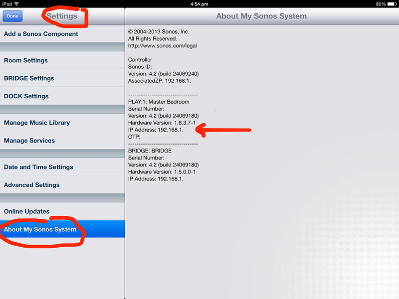 IP address of Sonos Play One Singapore