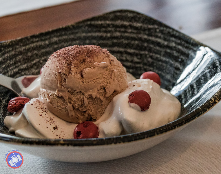 A Decadent Dessert with a foundation of Coffee Ice Cream Served at Antic Casino in Pals (©simon@myeclecticimages.com)