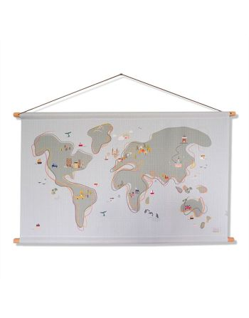 Textielposter - World map