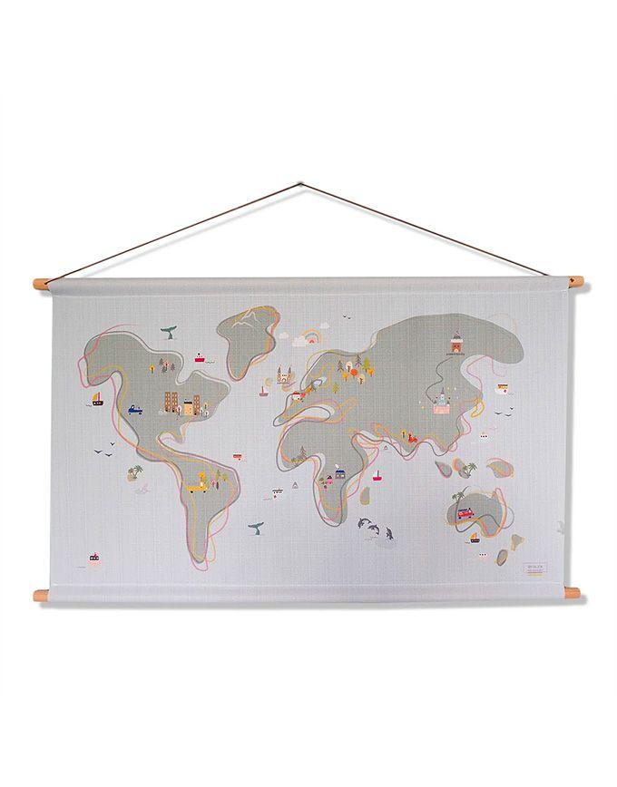 Textielposter - World map