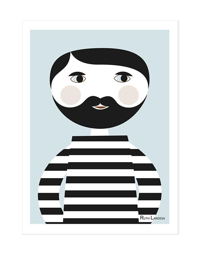 Prent A4 - Bearded man