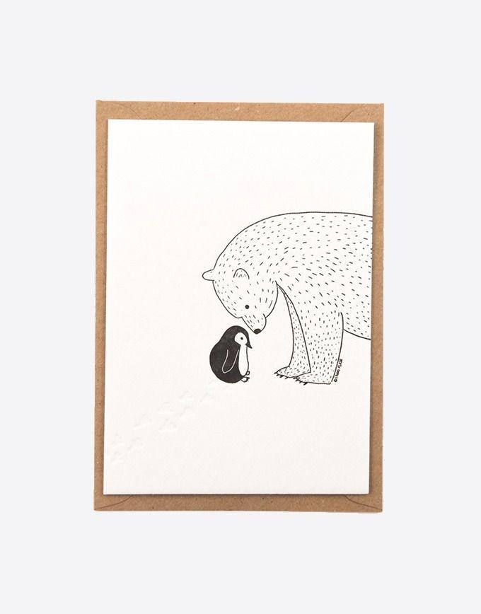 """Letterpress wenskaart """"Little penguin"""""""