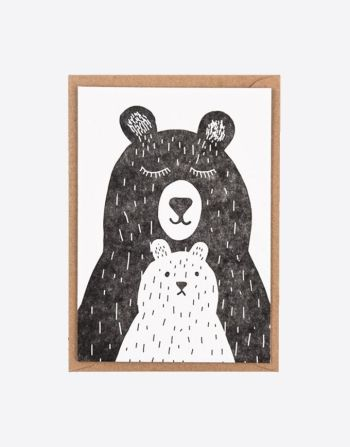 """Letterpress wenskaart """"Two bears"""""""