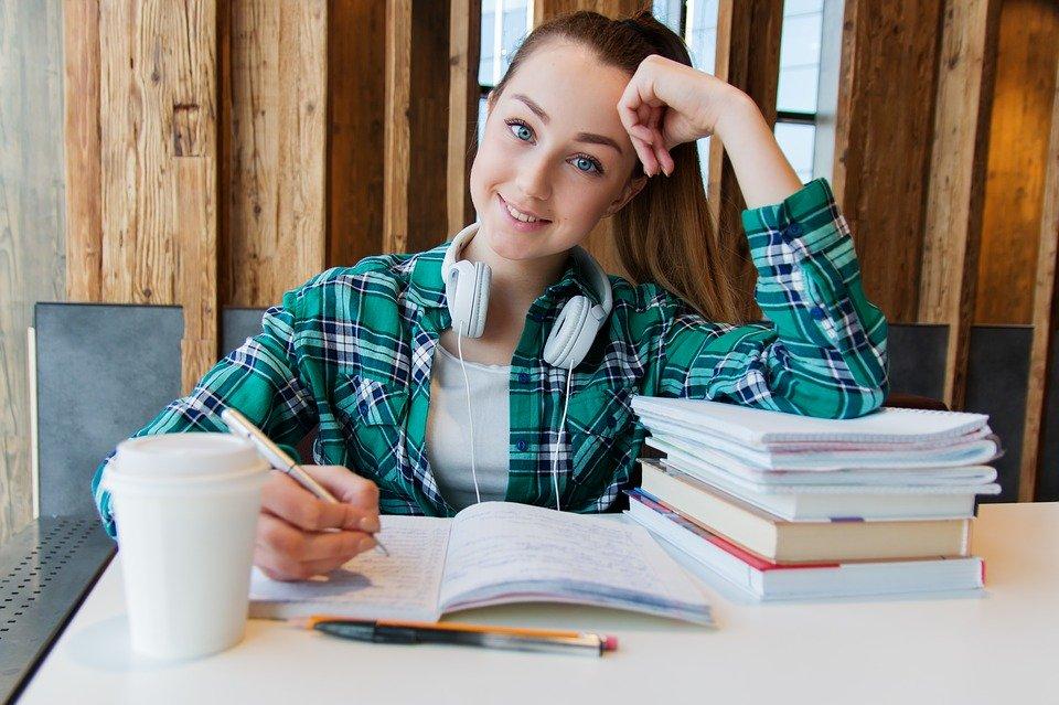 a student doing homework