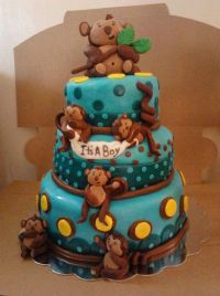 10 Monkey Theme Baby Shower Cakes Photo - Monkey Baby ...