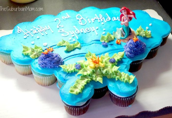 12 Little Mermaid Birthday Cake And Cupcakes Photo Little Mermaid
