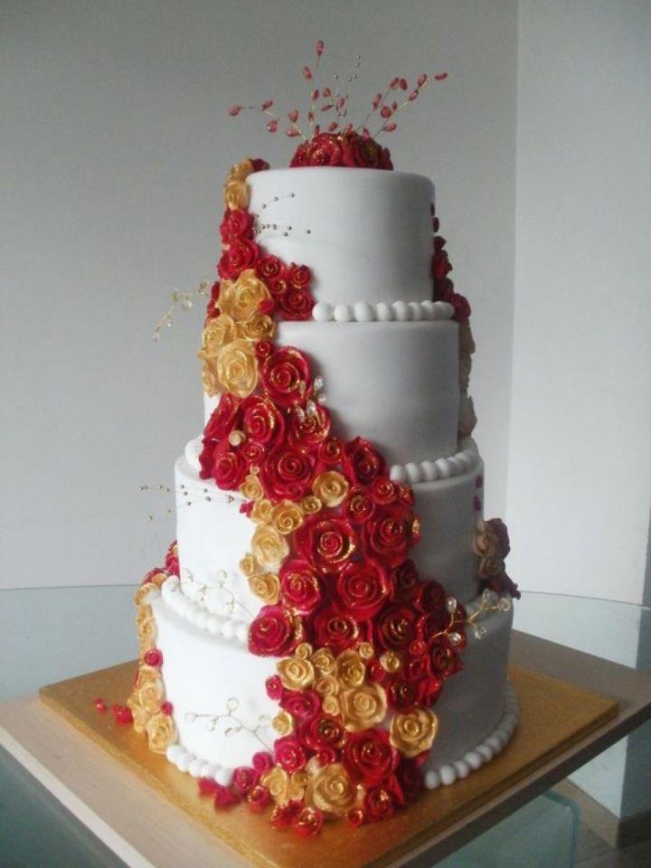 Red And Gold Themed Wedding Cakes Invitationjadi Co
