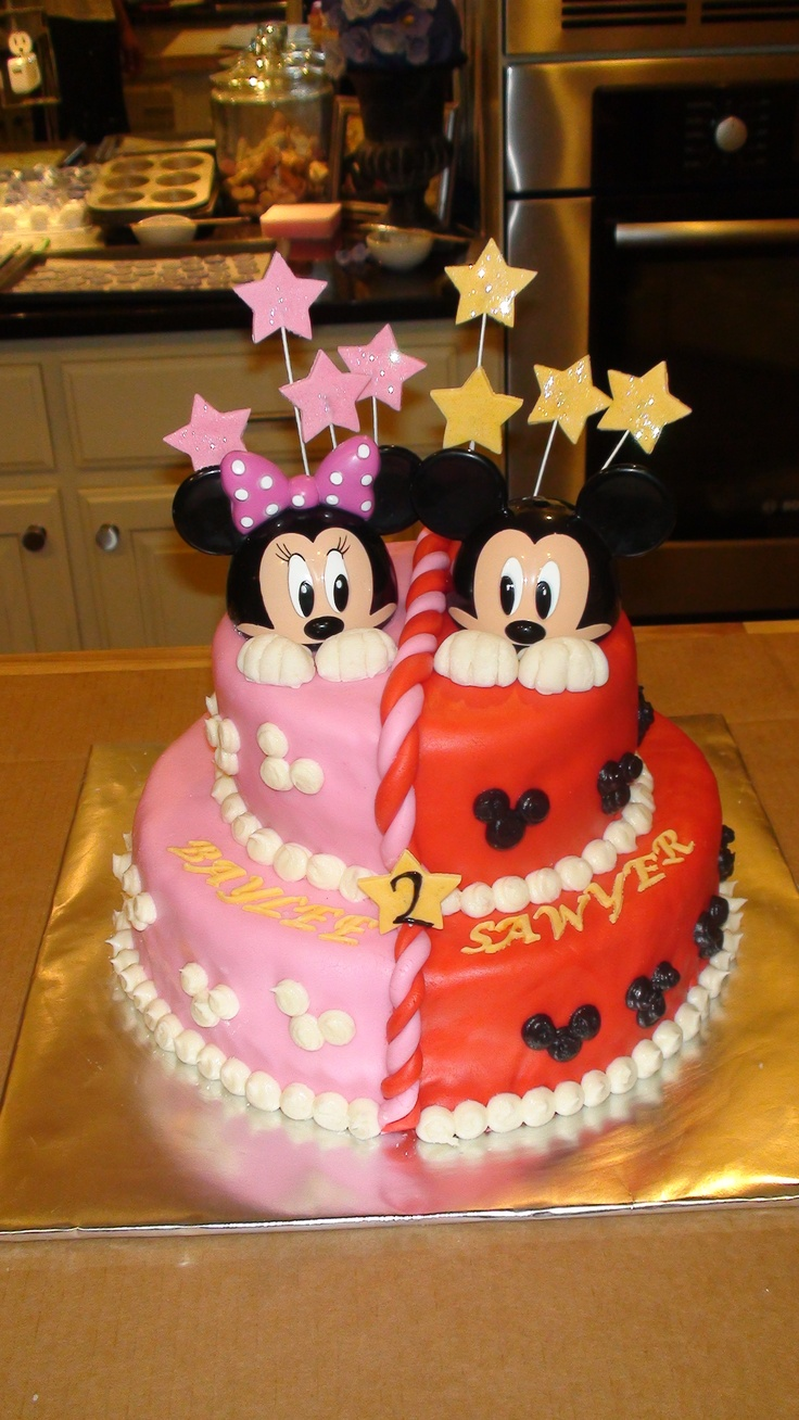 7 Sawyer Birthday Cakes Images Decorations Photo Half Mickey And
