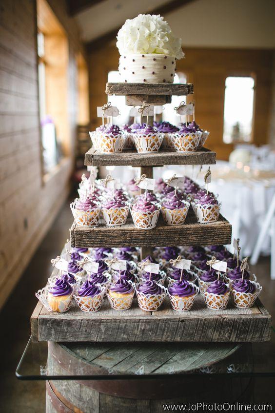 7 Cupcakes Country Wedding Cakes Purple Photo Rustic Cupcake