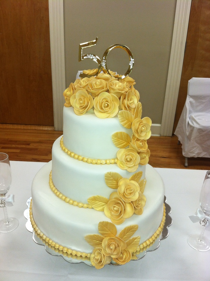 10 50 Anniversary Cakes Images Fondant Photo 2 Tier 50th