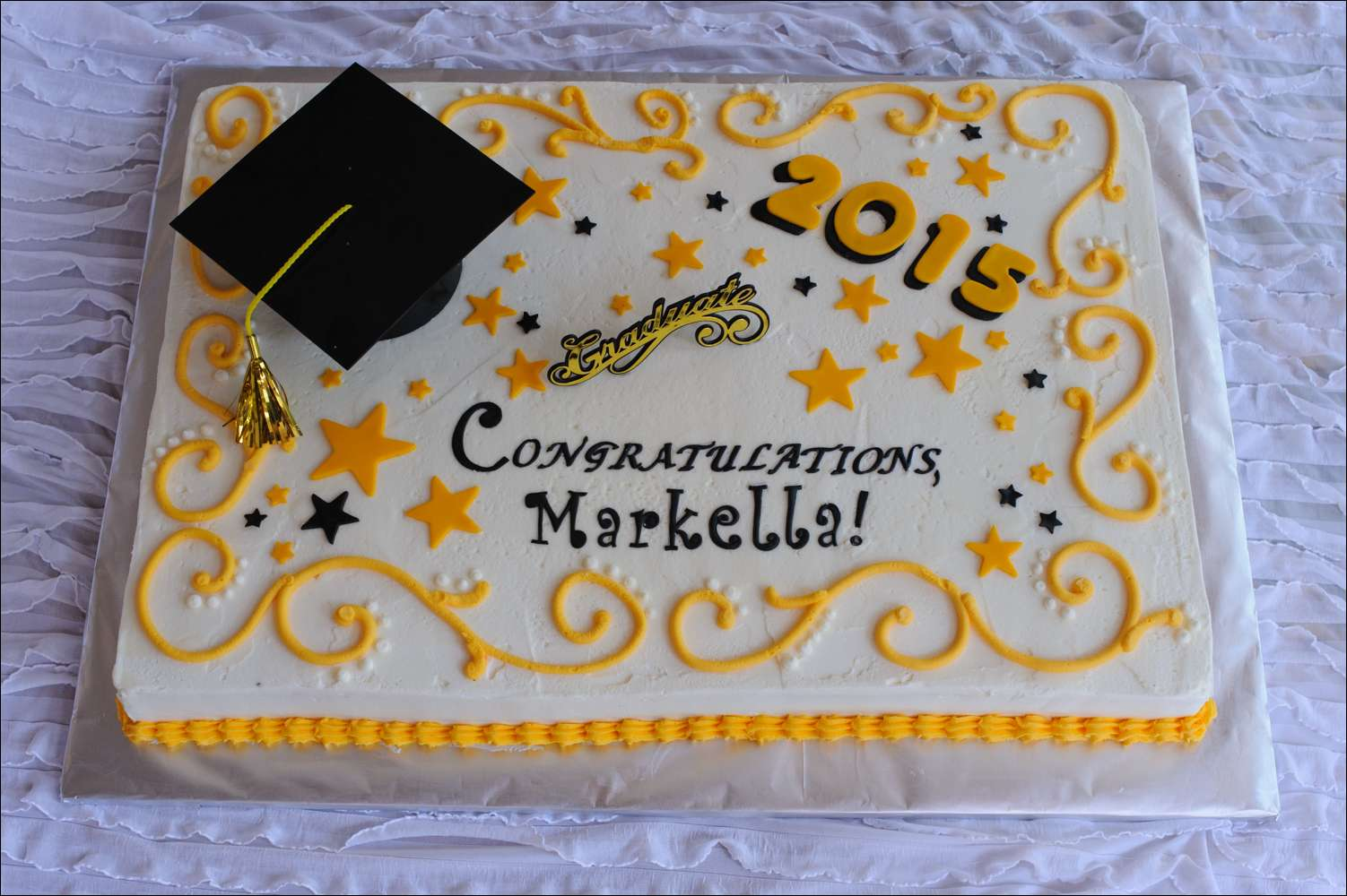 6 Black And Yellow Graduation Sheet Cakes Photo Black And Yellow