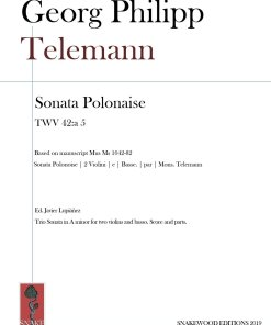 Telemann – Trio Sonata Polonaise TWV 42:a 5 – Score and Parts