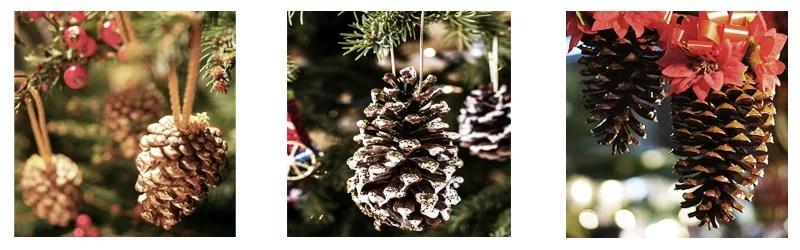 decorar en navidad con piñas
