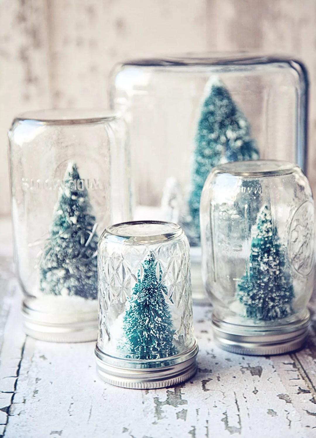 Bola de nieve DIY con tarro de cristal