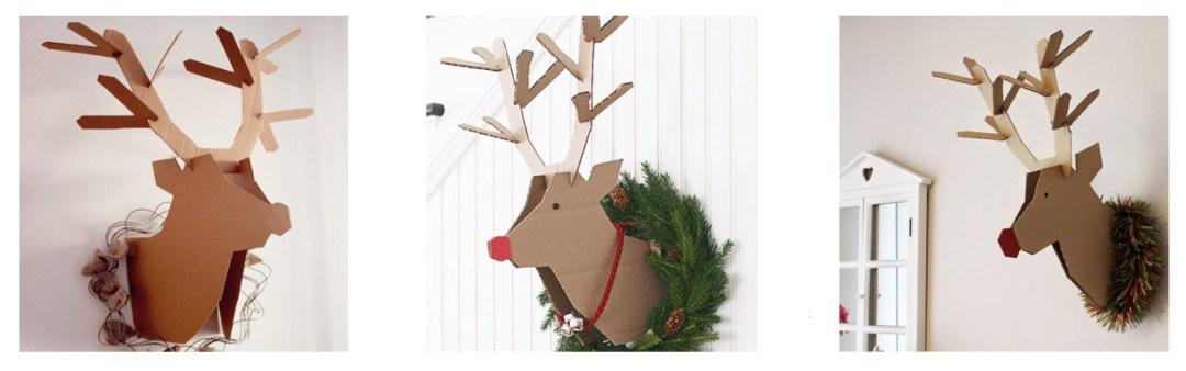 cabeza de reno hecha con cartón