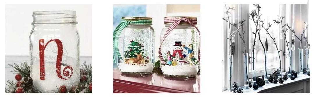 ideas para decorar con tarros en navidad