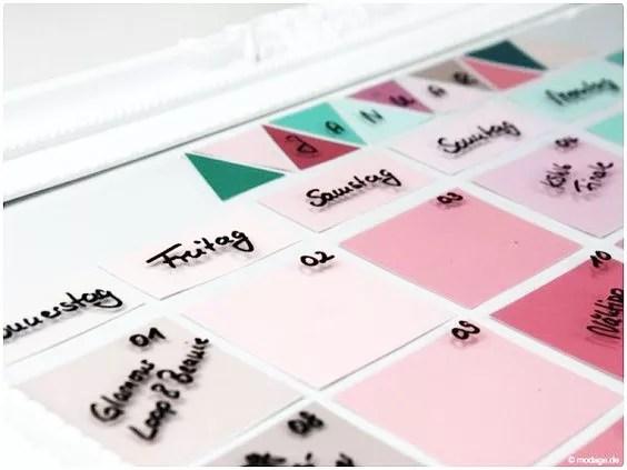Calendario diy con marco de cristal