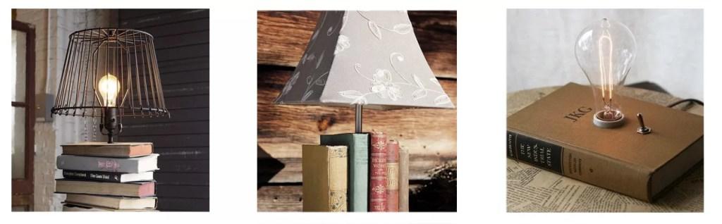 lámpara de mesa con libros