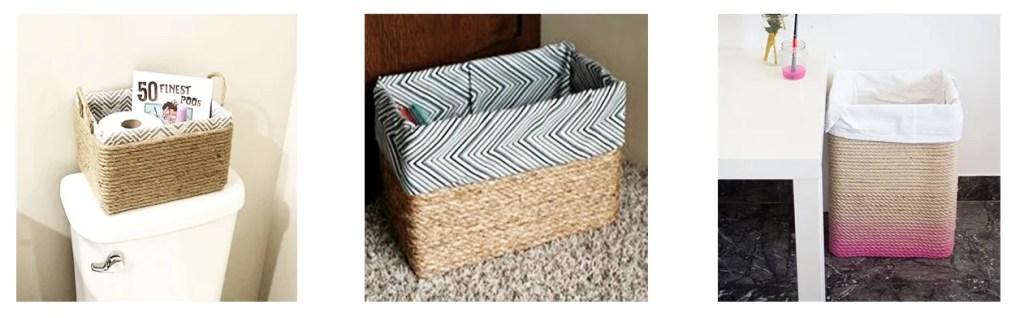 cesta hecha con cartón y cuerda