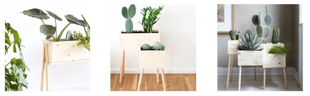 macetas con cajas de madera