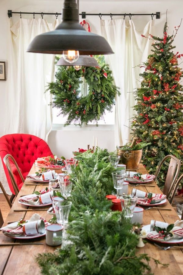 mesas navideñas en rojo