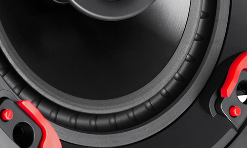 Close up of woofer and tweeter
