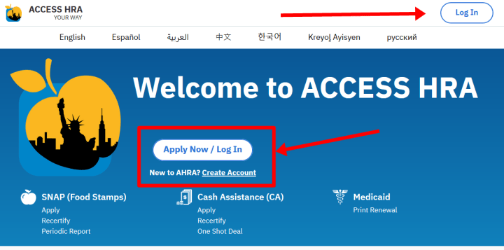 NYC ACCESS HRA Login
