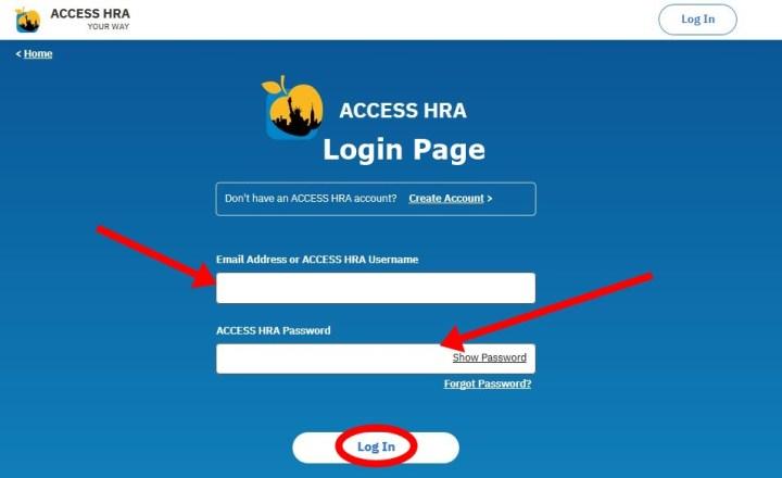 ACCESS HRA login