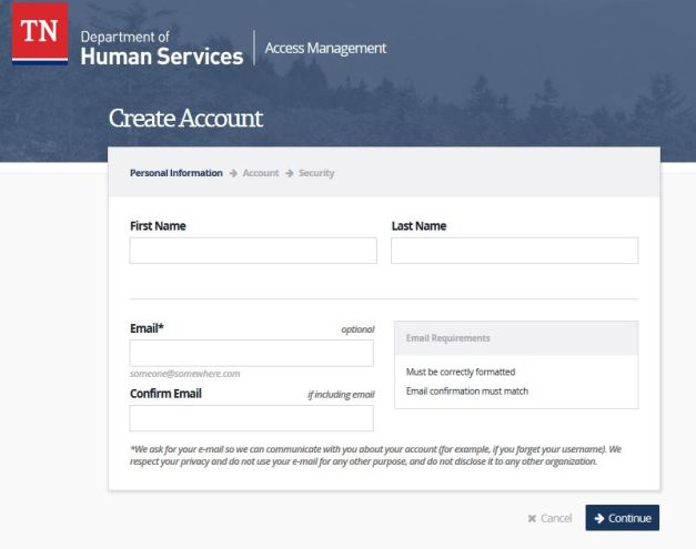 Tennessee DHS Account login