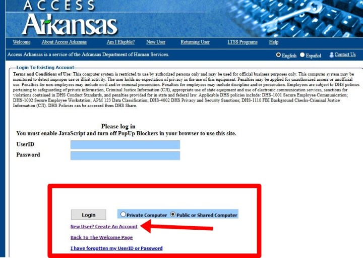 Create Access Arkansas Account @ Access.arkansas.gov