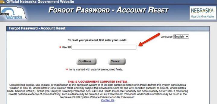 Reset ACCESSNebraska Login Password