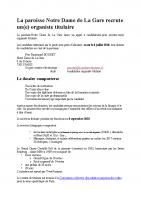 La paroisse Notre Dame de La Gare recrute
