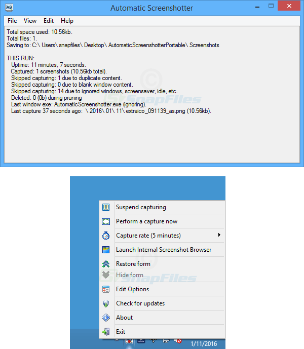 Automatic Screenshotter - take screenshots at regular intervals