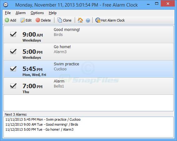 Free Alarm Clock Screenshot And