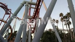 Adventure, Amusement Park, Arecaceae, Blue Sky, Bridge, Coaster, Condo, Handrail, Nature, Outdoors, Palm Tree, Plant, Roller Coaster, Theme Park