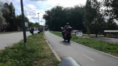 Wheel, Machine, Vehicle, Transportation, Bike, Bicycle, Road, Person, Motorcycle, Vespa, Moped, Motor Scooter, Urban, Building, Town